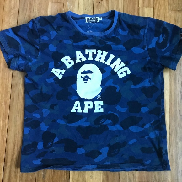 e082313b Bape Shirts | Navy Blue Camo Tshirt | Poshmark